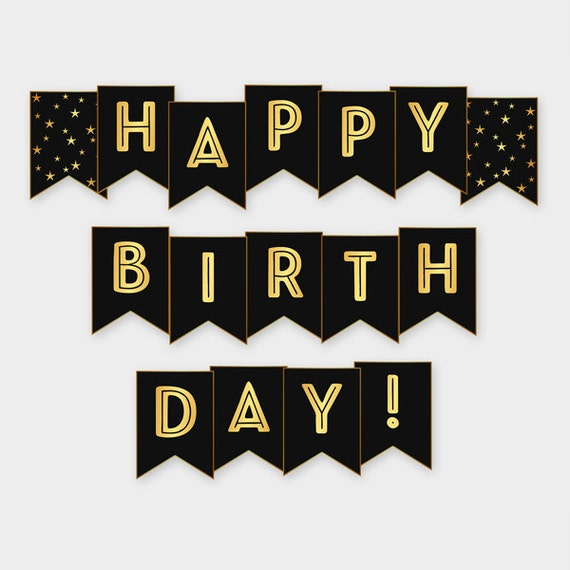 black gold printable happy birthday banner birthday party