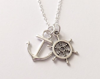 Silver Anchor and Helm Necklace/Silver Anchor Necklace/Silver Helm Necklace/Silver Nautical Necklace