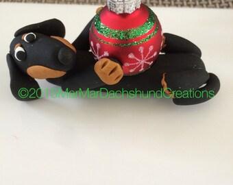 Black/Tan Dachshund Doxie Christmas tree ornament