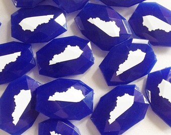 Kentucky in White on Large Royal Blue Translucent Beads - Faceted Nugget Bead - FLAT RATE SHIPPING 34x24mm