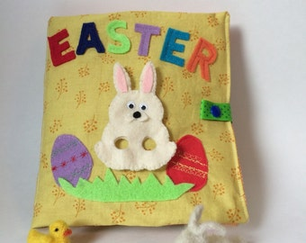 SALE! Easter Activity Book with Chicks and Bunny Finger Puppets, Quiet Book for Toddlers