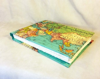 Map World Travel Photo Album Book Scrapbook Travel Album Journal Sketchbook Handmade Book North South America Europe Asia Australia Africa