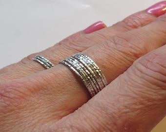 Set of 8 Delicate Rings, Super Thin Rings, Hammered 1 mm Rings, Skinny 925 Sterling Silver Rings, Minimalist Rings, Dainty Rings
