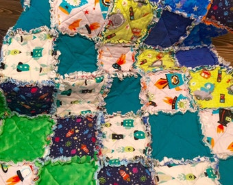 Planes, Trains, Automobiles, Spaceships, and Aliens Baby Rag Quilt