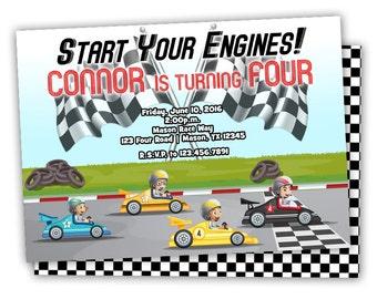 Car Birthday Invitations - Red Race Car Invitation - Start Your Engines - Boys Birthday Ideas - Invites - Boy Party - Race Cars