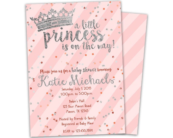 silver princess baby shower invitation pink royal baby, Baby shower invitations