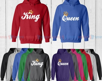 King & Queen - Matching Couple Hoodie - His and Her Hoodies - Love Sweaters