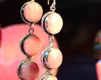 Handmade Natural Vintage Pink Jade 925 Sterling Silver Earrings 3 14