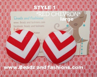 Red & white chevron fabric cover button earrings