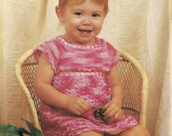 Baby Girl Dress Thread Vintage Crochet Pattern Shell Stitch Size 6, 12, 18 Months P-061