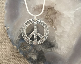 Peace Sign Fine Silver Pendant
