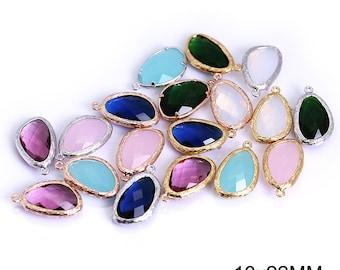 DIY Jewelry Findings, Semi Precious stone findings, Irregular Triangle connector charms, Semi precious stone pendants, 13x22mm stone drops