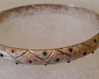 Vintage Sterling Silver Pave Hinged Bangle Bracelet Colored Stones Safety Chain 925 FAS 1980s