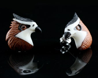 "Hand Carved- ""Hawk"" - Sabo Wood with Bone, Horn and Ebony Wood Inlay Stud Earring - American Frontier"