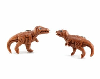 "Hand Carved - ""Tyrannosaurus Rex"" Sabo Wood with Ebony Wood Inlay Stud Earring - Prehistoric Beasts"