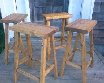 Rustic Bar Stools- Set of 4 (Reclaimed Wood)