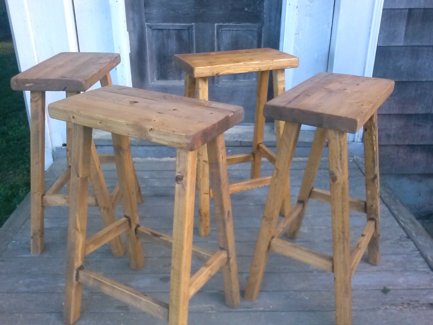 Rustic bar stools set of reclaimed wood