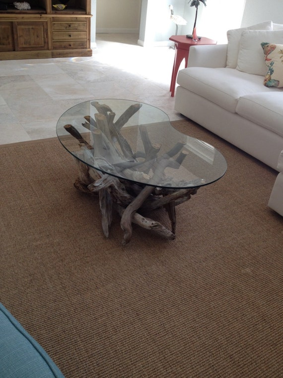 Driftwood coffee table style 5 handmade from reclaimed for Driftwood tables handmade