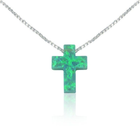 cross opal necklace green sterling silver box chain MEGA SALE!