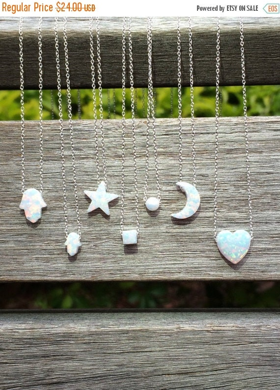 Opal Necklaces in Opal Moon • Opal Hamsa • Opal Cube • Opal Heart • Opal Star • Opal Ball • Safe to Wet • Irresistibly Adorable Gift For Her