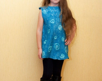 Comfortable and delicate nuno felted dress for girl