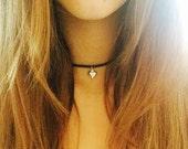 Silver heart choker Heart necklace Leather heart choker summer choker boho jewelery love heart necklace gift for her dainty heart