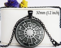 Black Sun Symbol Necklace Amulet Pendant 30mm (1.2 inch) PICTURE under glass Schwarze Sonne