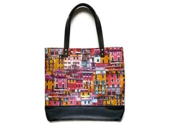 Zippered tote bag, faux leather shoulder bag, multi color shoulder bag,  every day bag, school bag, medium size tote, leather straps