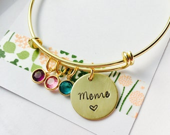 Personalized Grandma Bracelet, Grandma Bangle Bracelet, Gold Mimi Bracelet, Grandma Bracelet Family Bracelet, Personalized Bracelet