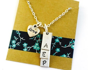 Initial Necklace Hand Stamped Rectangular Tag Necklace, Personalized Tag Necklace, Children's initial Necklace