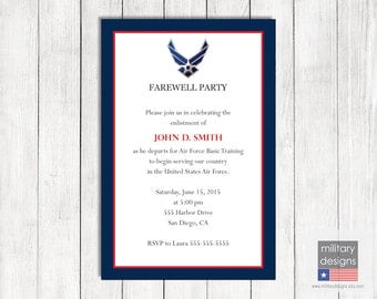 Air Force Farewell Invitation, Printable US Air Force Farewell Invitation, Military Farewell Invitation, Military Farewell Party Invite