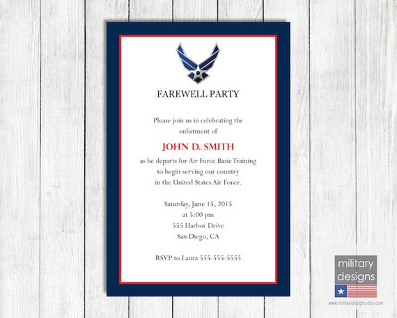 air force farewell invitation printable us air force farewell