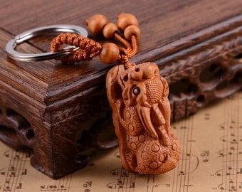 Mahogany Boxwood Brave Keychain (Size: 40x20x18mm)-WEN36636291887-GVN