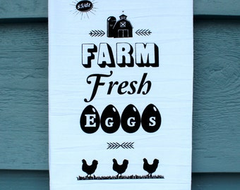 FARM FRESH EGGS - Backyard Chicken Farmer Cotton Kitchen Towel - Screenprinted Tea Towel