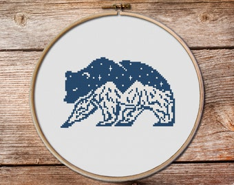 Bear Cross Stitch Pattern, Bear, keeper of the night cross stitch pattern, modern cross stitch, mountains cross stitch,gift for rangers #001