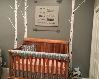 Custom Crib Bedding Set, Made to Order,  Orange, gray,modern, aztec,  arrows, crib skirt, sheet, baby blanket
