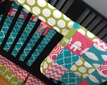 Custom Crib Bedding Set, Made to Order, Pink, turquoise & lime green, chevron, giraffe and elephants, crib skirt, sheet, baby blanket
