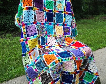 Crocheted Funky Colorful Ugly Granny Square Afghan Blanket