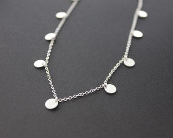 """Small Coin Necklace. Delicate Disc Necklace. """"Tiny Dancer Necklace""""."""