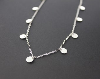 """Silver Coin Necklace. Delicate Silver Multi Disc Necklace. """"Tiny Dancer Necklace""""."""