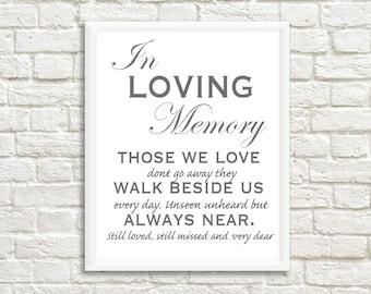 "Wedding Printable, Digital File, ""In Memory Sign"" Sign, Print at home"