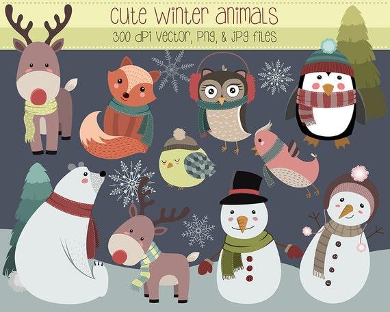 Funny Animal Winter Clip Art