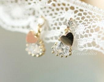 Cascading love -14k gold inlay zircon pendant earrings