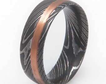 Damascus with Copper Inlay Wedding Ring