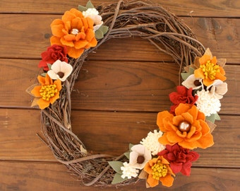 Fall Grapevine Wreath,Felt Flower Wreath,Fall wreath,Wool Felt Flower Wreath,Autumn Wreath,Home Decor,Fall Decor,Wedding Decor, Handcrafted