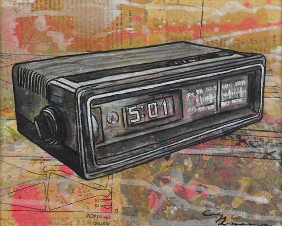 8 x 10 GICLEE print - It's Always 5 O'Clock Somewhere - vintage clock radio mixed media painting by Cindy Labrecque, open edition.