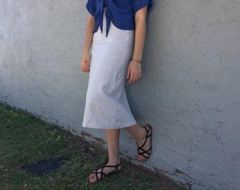 Chalk Linen Midiskirt -A Line Midiskirt -Flared Skirt -Calf Length Skirt -Linen A Line Skirt -White Linen Skirt -Cream Midiskirt -Light Grey