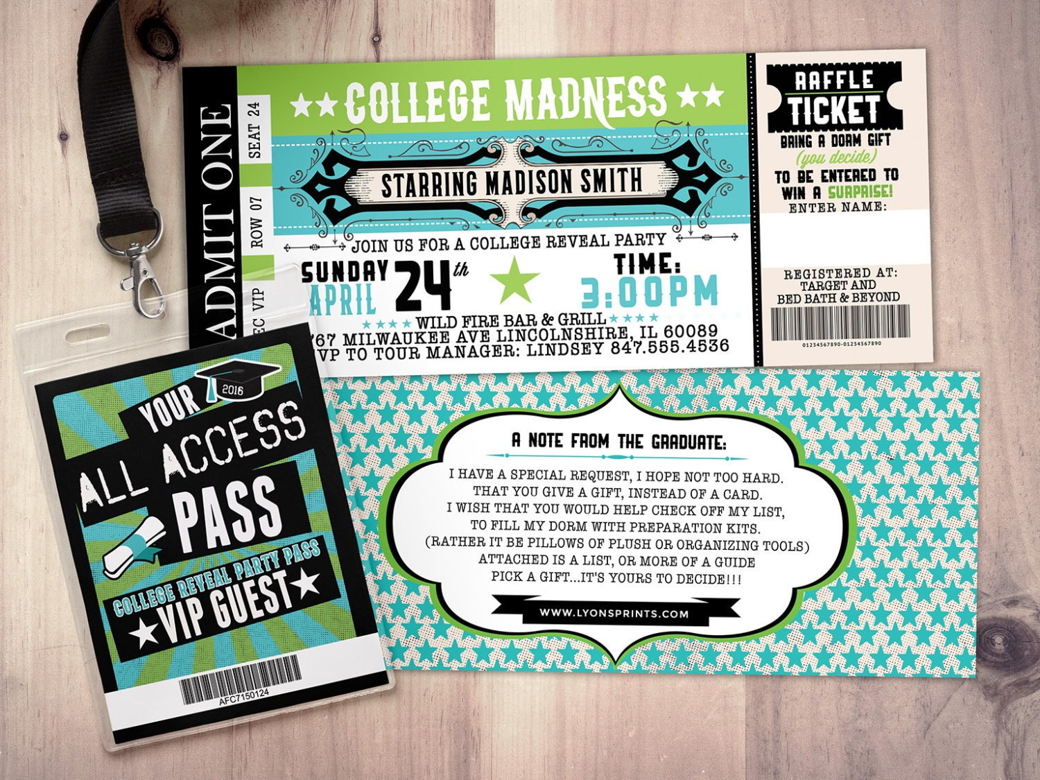 Lovely College Reveal Party, Concert Ticket, Graduation Party Invitation, Rockstar Birthday  Invitation, VIP Pass, Ticket Invitation, Rock Star  Concert Ticket Birthday Invitations