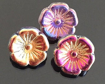 10 Metallic Purple Czech Glass Buttons, Small Flower Buttons, Glass Shank Buttons, Purple Flower Buttons, 12mm (BT-16)