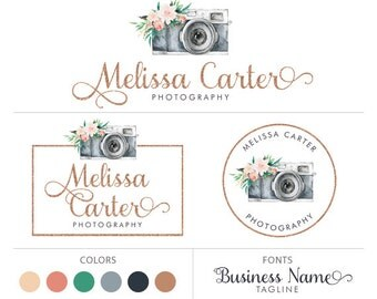 Camera logo rose gold logo premade logo package photography logo floral logo design photographers logo glitter logo branding package